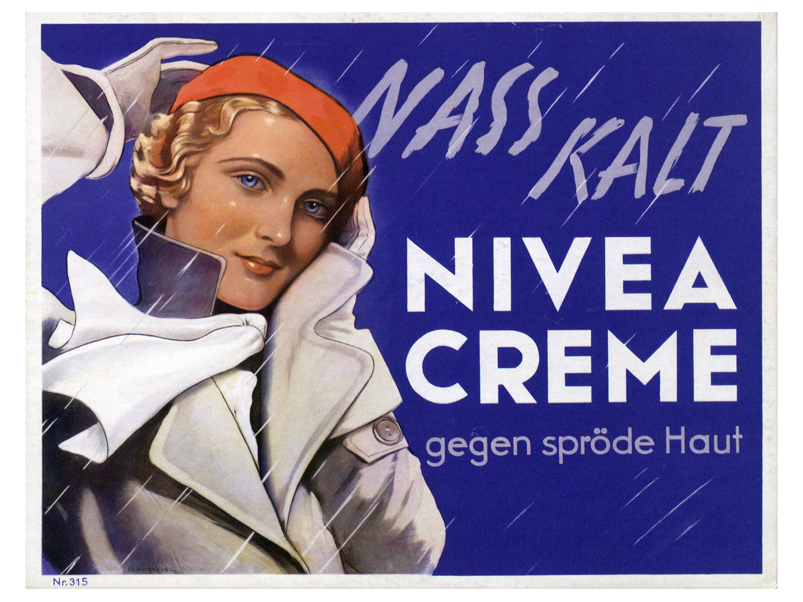 Photo © Nivea / Beiersdorf | NIVEA advertising poster from 1935: NIVEA Creme for rough skin
