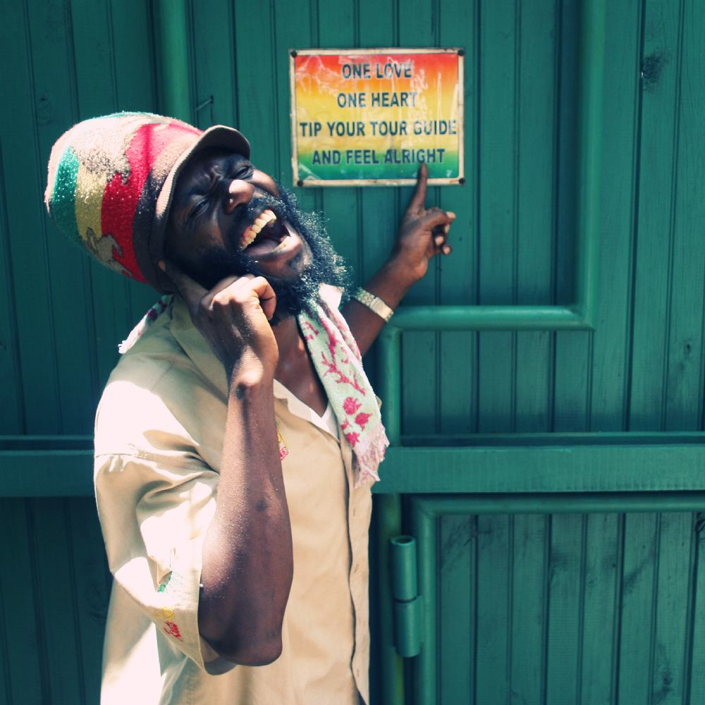 "Photo © Alija Kamber | ""Captain Crazy"", tour guide in Nine Mile, The Bob Marley Mausoleum"