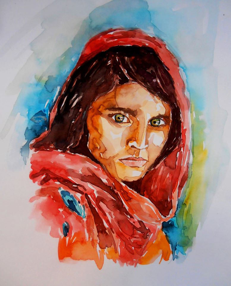 Painting of Sharbat Gula by Sachith Vithanage