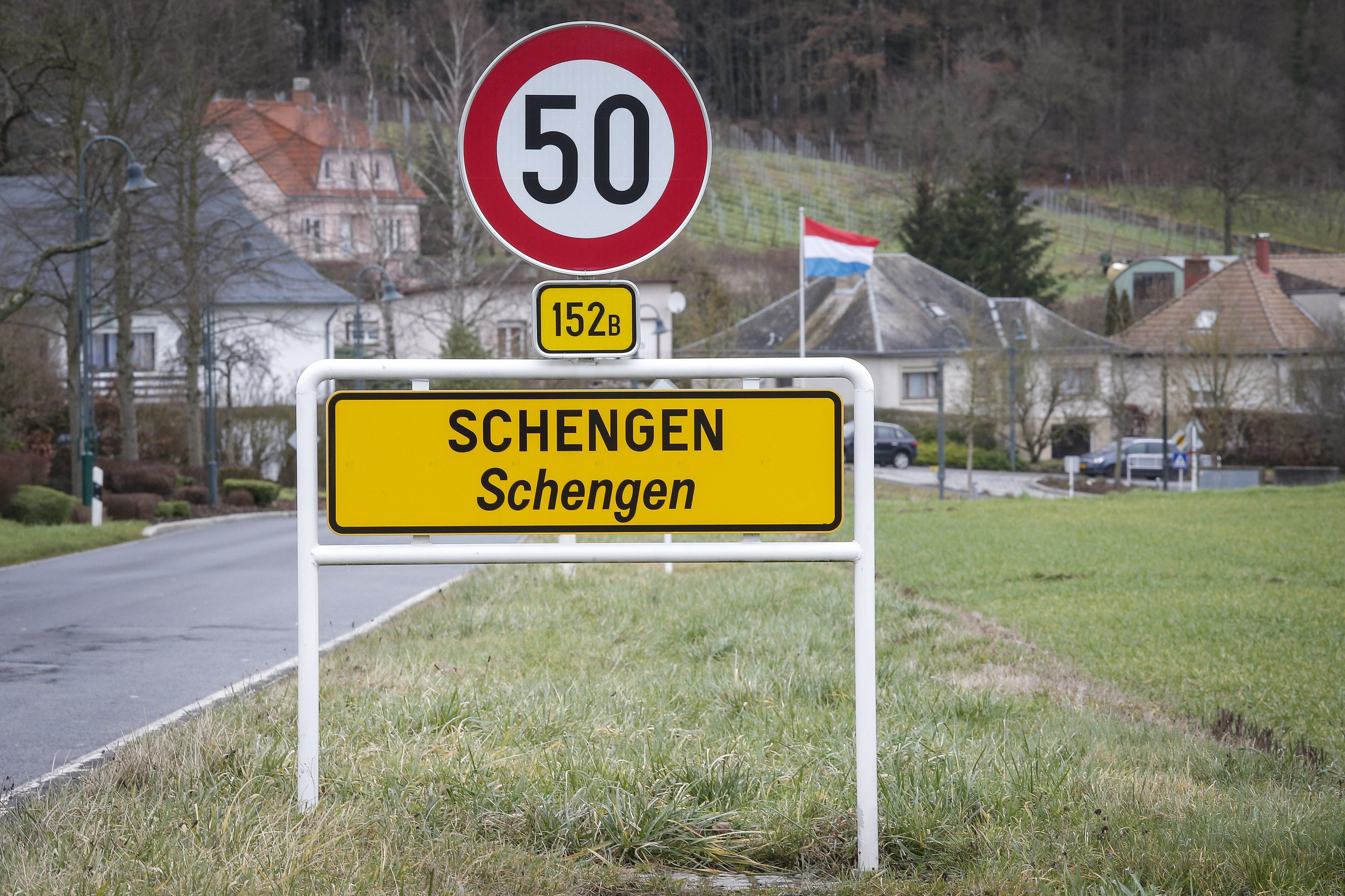 Photo © EPA / Julien Warnand | A view of a Schengen sign in the village of Schengen, Luxembourg. The town symbolizes the free movement of people and goods in 25 European countries under the Schengen Agreement signed in 1985 and 1990.