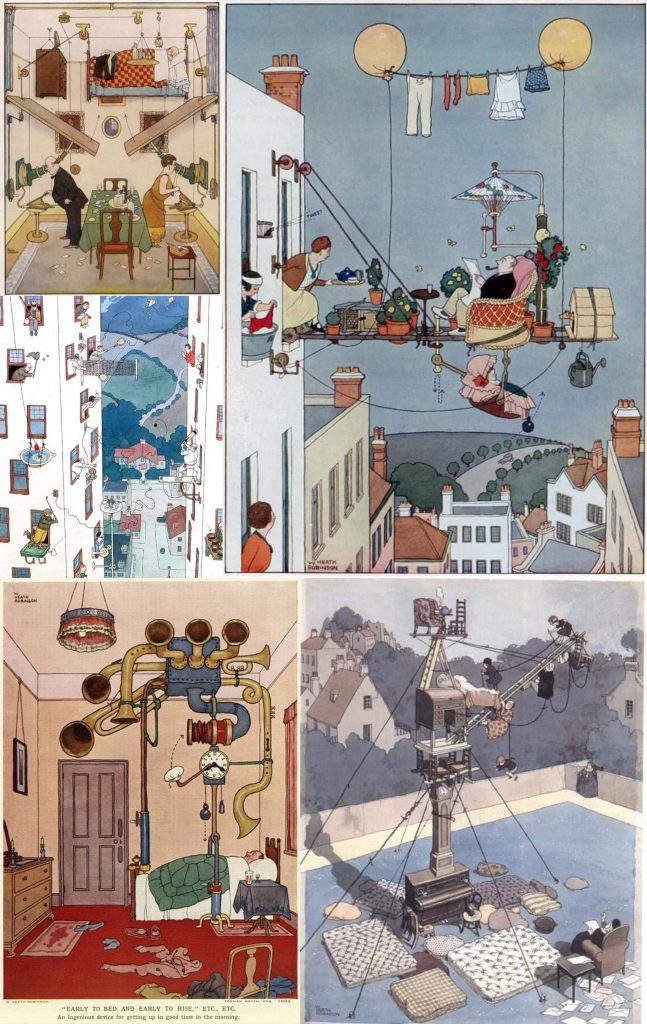 How to live in a flat_W. Heath Robinson_collage
